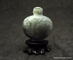 Nephrite Jade Snuff Bottle Rooster and Bamboo hand carved.
