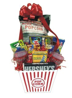 Gift Basket. I made one like this one year to send to family with Fandango Gift Certificates in it too.