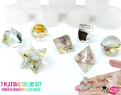 7 Platonic SolidsSet Of Clear Silicone Molds - HOUSE OF MOLDS-7 Chakra geometry set of 7 molds for resin,super shiny surface