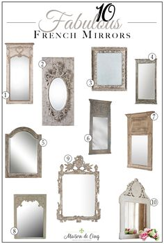 10 fabulous french style mirrors! French-inspired mirrors that won't break the bank! --->#maisondecinq #french #frenchcountry #frenchfarmhouse #frenchmirror #mirror #homedecor #homedecoratingideas #interiors #interiordecor #neutraldecor #neutralhomedecor #statementmirror #europeanfarmhouse