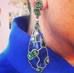 "By ""Arunashi Blue Topaz, Tsavorite Garnet and Diamond Earrings via Types Of Earrings, Ruby Earrings, Diamond Drop Earrings, Beautiful Earrings, Fashion Earrings, Jewelry Art, Blue Topaz, Bracelets, Jewellry Box"