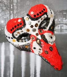A mask made of foamclay and glitter.