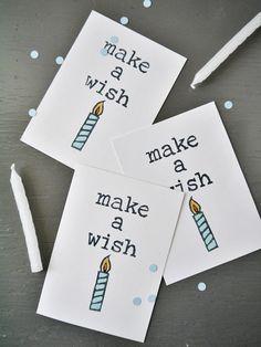 Mini Make A Wish Birthday Cards //  Set of 5 // A1 // Blank Card