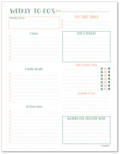 Use the weekly to-do planning page to organize your to-do list each week. Keep track of errands, appointments and the important tasks you want to get done each week. Daily Work Planner, To Do Planner, Daily Planner Pages, Daily Planners, Planner Ideas, 2018 Planner, College Planner, College Tips, To Do Lists Printable