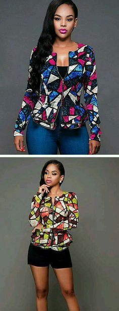 Geometric print for daily wear - geometric pattern slim blazer in blue - pink and green - orange colors. African Print Dresses, African Print Fashion, African Fashion Dresses, African Dress, Fashion Prints, African Prints, Ghanaian Fashion, Dress Fashion, Nigerian Fashion