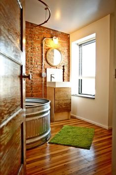 Eclectic Bathroom Design there are many designs that we can choose to apply. Look these 25 stunning Eclectic Bathroom Design Ideas. Galvanized Stock Tank, Galvanized Tub, Diy Bathroom, Eclectic Bathroom, Brick Bathroom, Bathroom Tubs, Bathtub Shower, Bathroom Ideas, Bath Tubs