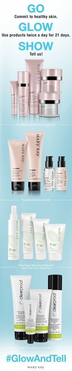 Beautiful skin starts here. Repin if you're ready for the Glow and Tell Challenge! | Mary Kay. Click on the picture for more details! http://www.marykay.com/Clairamae/en-US/