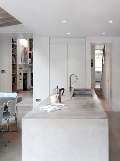 Concrete Kitchen Bench The Book Tower House London UK Platform 5 Architects