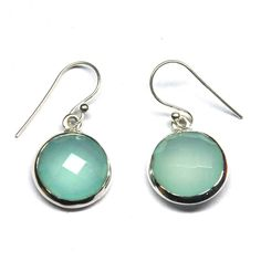 Natural Aqua Chalcedony Gemstone Sterling Silver Earring