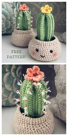 Desert Cactus Amigurumi Crochet Patterns - Look Surprisingly Real - - Do you want to have some beautiful cactus which never needs watering and never dies? You can crochet some with Desert Cactus Amigurumi Crochet Patterns. Crochet Flower Patterns, Crochet Patterns Amigurumi, Crochet Flowers, Cat Amigurumi, Crochet Ideas, Cactus En Crochet, Crochet Cactus Free Pattern, Cute Crochet, Knit Crochet