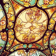 Stained glass ceiling details in Michel Rostang's restaurant, Rennequin street in Paris realized by France Vitrail International  How many birds do you see?  Have a great and peaceful day, greetings from Paris