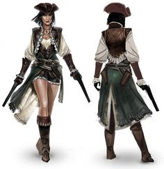 Concept art from Assassin's Creed IV: Black Flag, the Lady Black. Pirate Art, Pirate Woman, Space Pirate, Character Portraits, Character Outfits, Assassins Creed Black Flag, Female Assassin, Larp, Female Characters