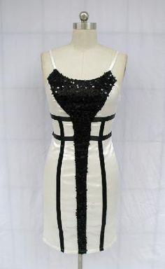 SEQUIN BLACK & CREAM COLOR BLOCK SATIN COCKTAIL DRESS SIZE L