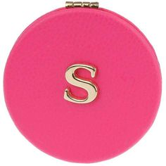 Miss Selfridge S' Initial Compact Mirror (6.74 CAD) ❤ liked on Polyvore featuring beauty products, beauty accessories, pink and miss selfridge