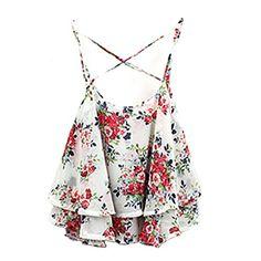 Mode Damen Frauen-Sommer-Spaghetti-Bügel-Vintage Rose Hemd mit Blumenmuster Chiffon Vest Top Blusen (Weiß)