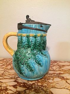 Old Antique RARE Majolica Syrup Pitcher Pewter Lid - Ferns and Bricks