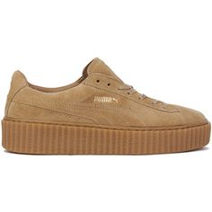 Puma x Rihanna Suede Creepers - Oatmeal ($120) ❤ liked on Polyvore featuring shoes, sneakers, puma trainers, round cap, creeper platform shoes, creeper sneakers and suede shoes