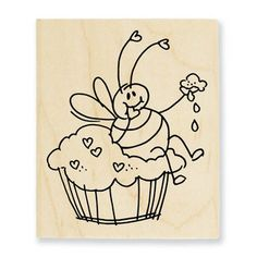 Stampendous Stamps » Woodmounted Rubber Stamps » Bee Happy » Bee Cupcake