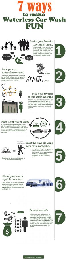 A simple infographics to make Waterless Car Washing fun by Hi-def Detail of Dallas, Texas. - https://www.facebook.com/waterlesscarwashprodcuts