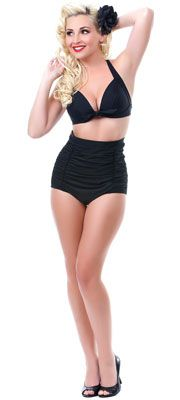 All Black Monroe Two Piece Swimsuit>>A two piece, full coverage, flattering style. I want this!!!
