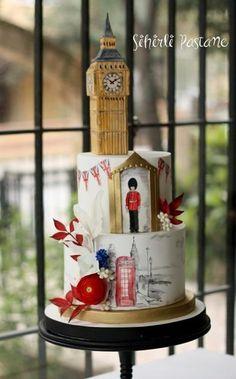 London Cake by Sihirli Pastane Themed Wedding Cakes, Themed Cakes, Beautiful Cakes, Amazing Cakes, London Cake, London Party, British Cake, Travel Cake, Buy Cake