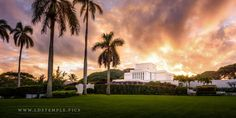 A stunning sunset at the Laie Hawaii Temple. LDS Temple Photos