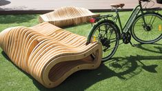 CNC-Milled Plywood Forms Dual Bench and Bike Rack in Costa Rica