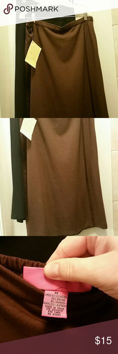 """Bundle of 2 NWTskirts 1x Two skirts by Mary Ann Restive for QVC. Fully lined. 1 black, 1 chocolate brown. +side zip, 1/2 elastic waist. A little below knee length on me. I'm 5'9"""". Cute little satin stripe detail and 6"""" split front. Skirts Midi"""