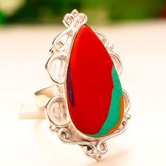 RAINBOW-CALSILICA-GEMSTONE-925-STERLING-SILVER-JEWELRY-RING-6 Sterling Silver Jewelry, Jewelry Rings, Gemstone Rings, Rainbow, Gemstones, Handmade, Rain Bow, Rainbows, Hand Made