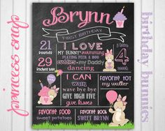First Birthday Chalkboard Poster Sign Bunny by PrincessSnap