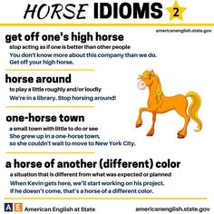 "English idioms using the word 'HORSE' (2) with their meaning and an example, by ""American English at State"" http://americanenglish.state.gov/, a website managed by The Bureau of Educational and Cultural Affairs, U.S. Department of State."