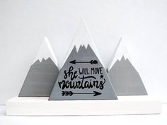 Wooden mountains Baby girl gift She will move mountains