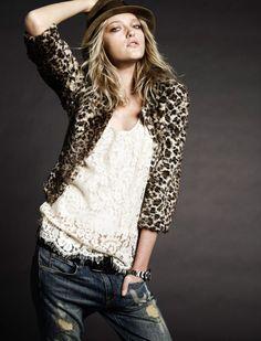lace,leopard,destroyed jeans