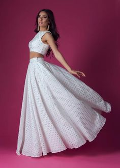 white lehenga with sleeveless crop top and high waisted cotton lehenga skirt with gold foil polkadots Indian Fashion Dresses, Girls Fashion Clothes, Indian Outfits, Lehenga Crop Top, Lehenga Skirt, Lehenga Choli, Party Wear Dresses, Ball Dresses, Wedding Dresses
