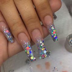 Glitter Eyeshadow Ideas - Star Glitter Aesthetic - Black And Silver Glitter - - Silver Glitter Nails, Bling Acrylic Nails, Best Acrylic Nails, Bling Nails, Swag Nails, Holographic Glitter, Glitter Nail Tips, Glitter Walls, Blue Glitter Nails