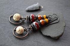 Rustic Boho Earrings Stacked beads Long Dangle Hoops Carved Howlite Earthy Indie Jewelry Glass Metal Stone Red Cream Bohemian Gypsy by JeSoulStudio - handmade jewelry - artisan jewellery - etsy