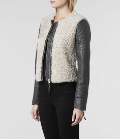 Womens Devoe Leather Biker Jacket (Grey/Ecru) | ALLSAINTS.com