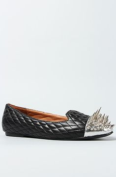 The Crown II Shoe in Black Quilt and Silver Spikes by Jeffrey Campbell