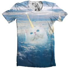 Cats are cool, so are unicorns. Why choose? Believe!  Designed by Sharp Shirter and printed on a white 100% polyester super soft t-shirt.  Note: The