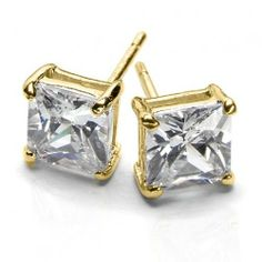 Bling Jewelry Gold Vermeil Basket Set Square Princess Cut CZ Unisex Stud Earrings (3ct 8mm) Bling Jewelry. $18.98. Gold vermeil. Unisex stud earrings. Princess cut diamond CZ. Total weighs about 2 grams. For pierced ears. Save 63%!