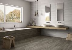 """Vein Dove Grey & White - Imola. A replica of a vein-cut travertine, Vein is stocked in four colors in our Plymouth warehouse in the """"A"""" or natural finish."""