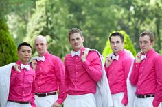 oooh yes love it!! <3 Google Image Result for http://www.unitedwithlove.com/wp-content/uploads/2011/02/Colorful-Pink-Blue-DIY-Maryland-Wedding-Groomsmen-Pink-Shirts.jpg