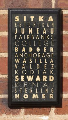 Cities of Alaska Subway Scroll Vintage Style Wall by CrestField
