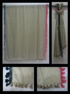 Khadi jacquard with puffy tassels stole