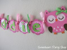 Becca...I think you should have this at your next birthday party. owl party banner with ribbon