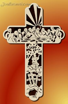 Scroll Saw Patterns :: Religious & Inspirational :: Themed picture crosses :: Last Supper cross -