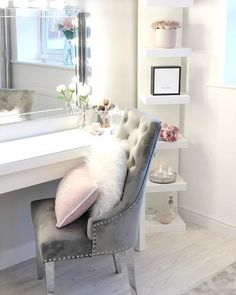 Top Beautiful Teen Room Decor For Girls - Decor Girls Dressing Room, Dressing Room Decor, Dressing Room Design, Teen Bedroom Designs, Bedroom Decor For Teen Girls, Room Ideas Bedroom, Grey Bedroom Design, Girl Bedrooms, White Dressing Tables
