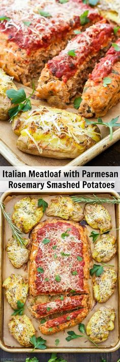 Italian Turkey Meatloaf with Parmesan Rosemary Smashed Potatoes | This Italian Turkey Meatloaf with Parmesan Rosemary Smashed Potatoes is the perfect way to turn that traditional ho-hum meatloaf dinner into something special!