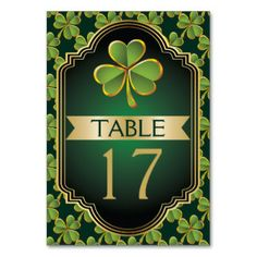 Shop Gold and green Irish clover wedding table number created by weddings_. Personalize it with photos & text or purchase as is! Celtic Wedding, Irish Wedding, Carton Invitation, Gold Banner, Clover Green, Table Names, Fun Wedding Invitations, Wedding Table Numbers, Wedding Frames