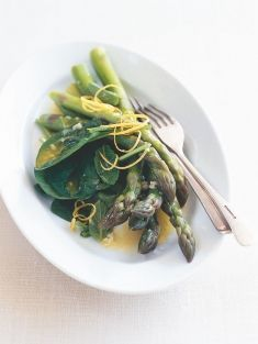 Asparagus with lemon and garlic buttter...